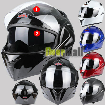DOT Dual Visor Flip Up Full Face Modular Motorcycle Bike Motocross Safety Helmet