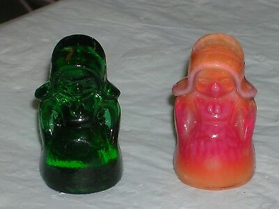 Pair of Amish lady figurines/minis/by Boyd Glass Co