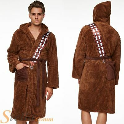 Adult Star Wars Chewbacca Soft Fleece Hooded Brown Bathrobe Dressing Gown