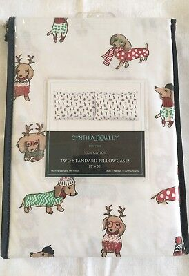 Cynthia Rowley Christmas Dogs Dachshund Holiday Cotton Pillowcase Set White NEW