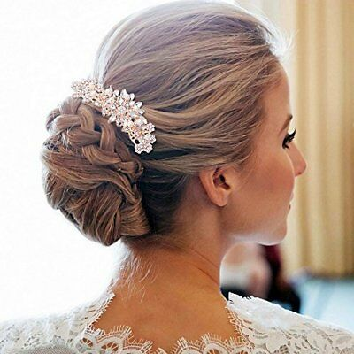 Vintage Ivory Simulated Pearl Crystal Bridal Hair Comb Rose Gold Accessories