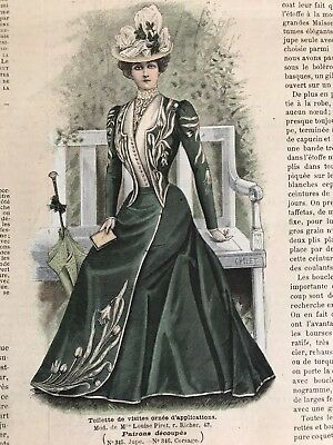 MODE ILLUSTREE SEWING PATTERN July 16,1899 MOURNING DRESSES ,VISITING DRESS