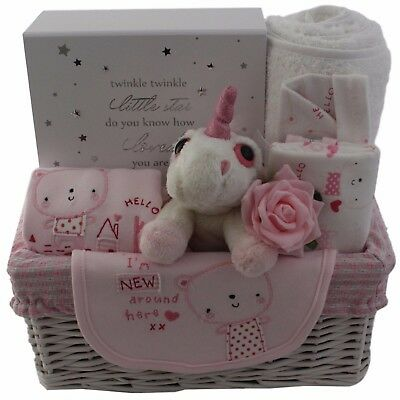 Baby gift basket/hamper girl with unicorn, 4 piece clothes set and memory box