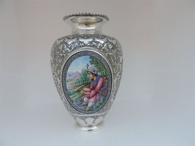 Museum Antique Masterly H-Chased & Painted Persian Islamic Silver & Enamel Vase