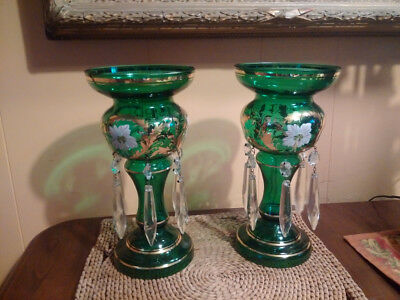 Vintage Victorian Mantel Lustres in Deep Emerald Green with enamel and gilding.