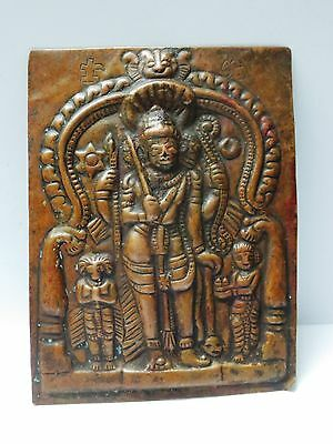 Vintage India Religious Copper Relief Embossed Work Wall Plaque Home Decor Gift