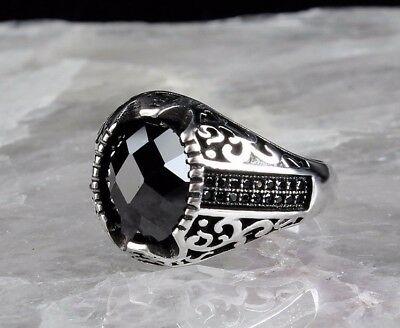 925 S. Silver Turkish SPECIAL Onyx stone Mens Ring Sz 10.5 us free resize #1101