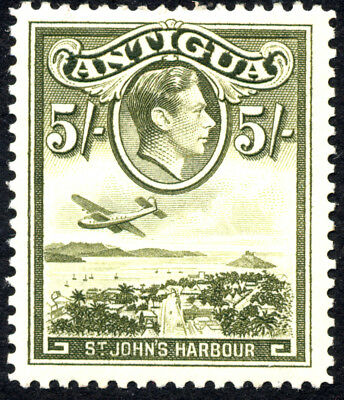 Stamps Antigua King George VI Definitive 5/- Value Lightly Mounted Mint.
