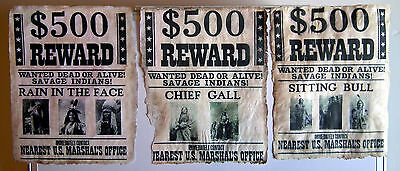 SET OF THREE (3) VINTAGE REPRODUCTION OLD WEST WANTED POSTERS by KDAshley