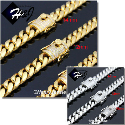 "18-40""MEN Stainless Steel 10/12/14mm Gold/Silver Miami Cuban Curb Chain Necklace"