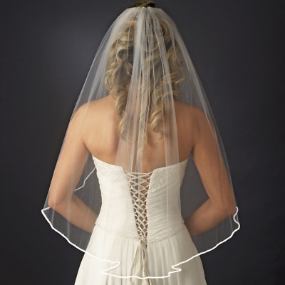 New Simple Tulle White Ivory One Layer Short Wedding Veil Ribbon Edge Comb