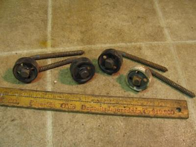 4 Vintage Barn Door Guide Rollers Cast Iron and Steel