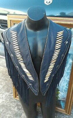 Tribe America Leather Fringe buffalo bone shawl women men jacket vest pants