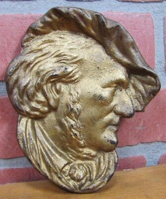 Antique Cast Iron Columbus Figural Bust Tip Card Tray old gold paint high relief