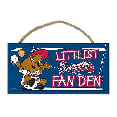 "Atlanta Braves Littlest Fan 5""x10"" Fan Cave Wood Sign Authentic MLB Wall Decor"