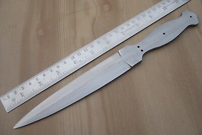 "11"" custom made hunting spring steel knife blank blade, throwing, letter opener"