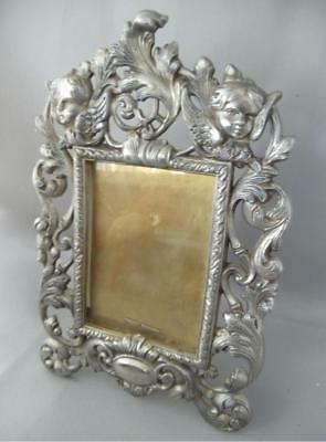 Antique Vtg Silver Plated? Silvered Metal & Brass Cherub Picture Table Frame 5X7