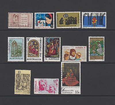 12 used Christmas stamps - 1961 - 1978