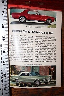 vintage magazine ad advertising print 1968 FORD MUSTANG SPRINT + GALAXIE HARDTOP