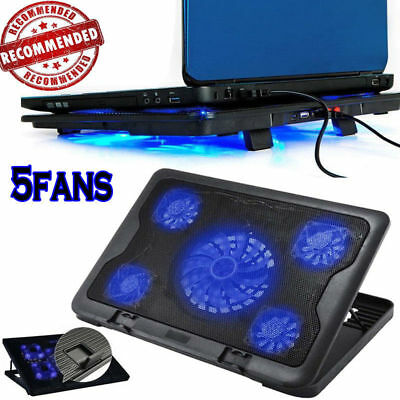 5 Fans For Laptop Notebook Cooler Cooling Stand USB Fan Pad with USB