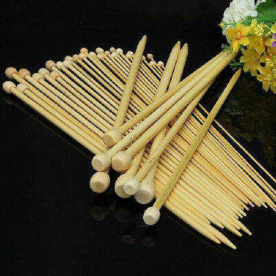 Single Pointed Bamboo Wood Knitting Knitted Sweater Needles Crochet 18 Pieces