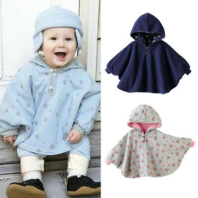 Reversible Baby Cape Coat Cute Girls Toddlers Kids Hooded Jacket Poncho New