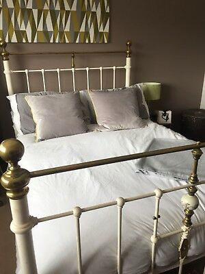 Victorian White Cast Iron & Brass Double Bed with slated wood Bed Base