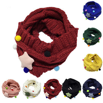 Cute Kids Baby Boy Girl Winter Warm Star Knitted Scarf Candy Color Scarf Snood