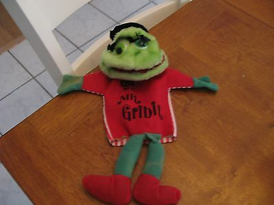 "vintage 15"" hand puppet green red frog mr. gribit squeaker"