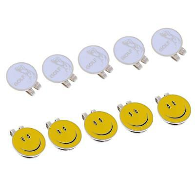 10 Pieces Smile Face Golfer Magnetic Cap Visor Clip Golf Ball Markers Gifts