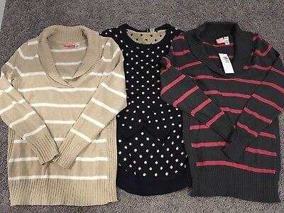 Oh Momma! Lot Of 3 Maternity Sweaters L Large Gray Navy Blue Beige NWOT