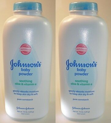 Johnsons Baby Powder - CORNSTARCH - Aloe & Vitamin E - 15 oz x 2 (30 oz total)