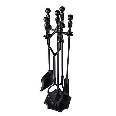 Rustic Fireplace Tools 5 Pieces Wrought Iron Tool Set Fireset Firepit Fire Place