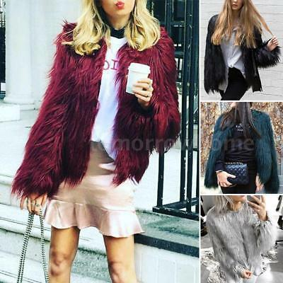 Women Winter Shaggy Faux Fur Open Front Short Jacket Fluffy Outwear Coat P7Q1