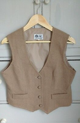 Vintage Pure New Wool Tailored Waistcoat Herringbone Camel 14