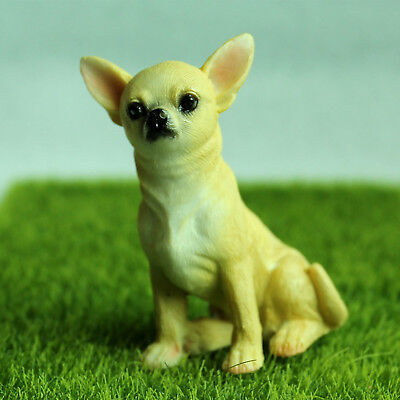 Vintage Animal Miniature Figurines Cute Chihuahua Dog Statue Collect