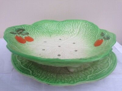 Vintage Beswick Cabbage Leaf Green Salad Draining Bowl and Stand 234