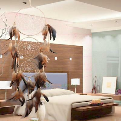 Handmade Large Dream Catcher with Feather Beads Wall Hanging Decoration Ornament