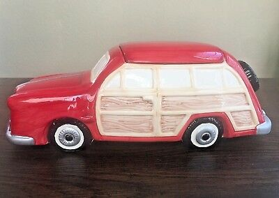 Vintage 1950's 2 Door Red Woody Wagon Cookie Jar Extremely Rare