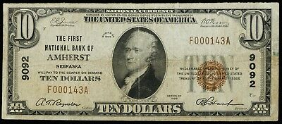 1929 Series First National Bank Of Amherst Nebraska $10 National Currency Brown