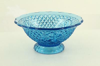 Vintage Cornflower Blue Waffle Della Robbia Fruit Panel Footed Console Bowl