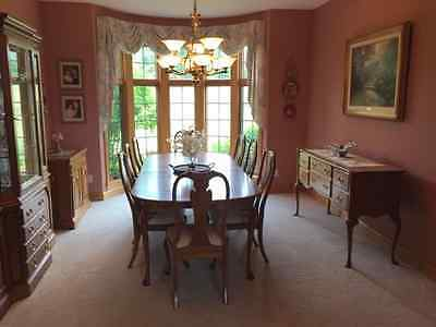 Harden Cherry Dining Room Table 8 chairs, China Cabinet, Sideboard, Server, Pads