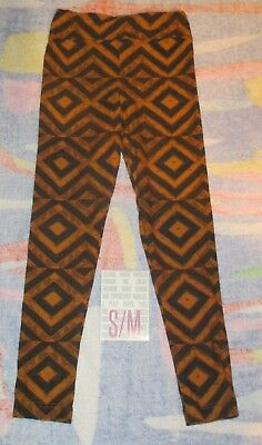 NEW IN PACK Lularoe Kids S/M Leggings Dark Blue SQUARE Brownish Colors