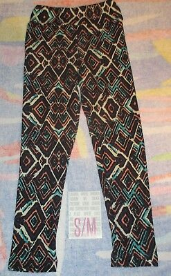 NEW IN PACK Lularoe Kids S/M Leggings Black Purple Teal Pink Square Designs