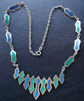vintage 925 STERLING SILVER blue green enamel modernist abstract necklace -C29