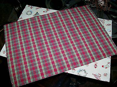 Longaberger Reversible PLACEMATS Set of 2 - Trimmings + Holiday Plaid  Christmas