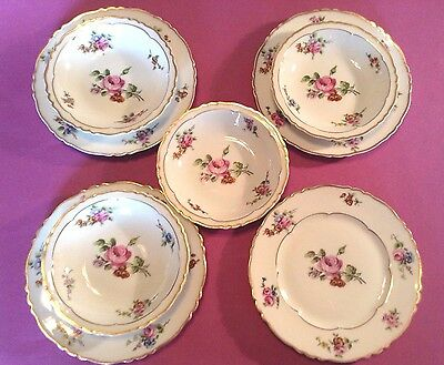 Limoges Haviland  - 4 FOUR Chantilly Small Bowl And Plate Sets - France