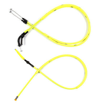 Motorcycle Yellow Accelerator THROTTLE & CLUTCH CABLES for CBR600RR 2003-2006