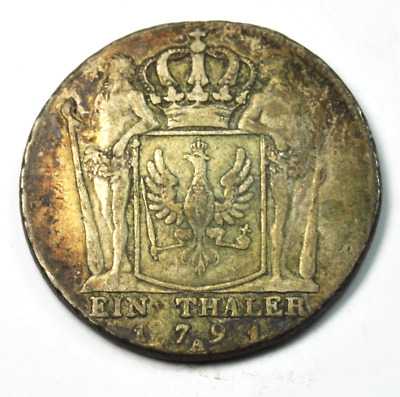 1791 A German States Prussia Thaler Silver Coin KM#360.1 Rare