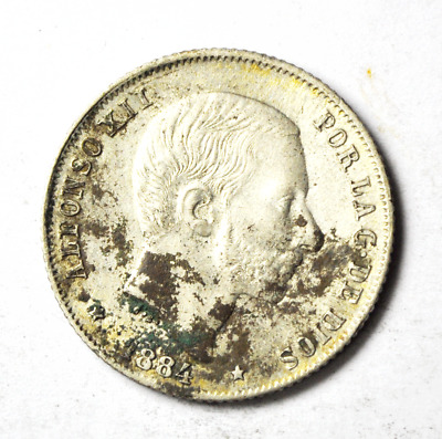 1884 Philippines 20 Centimos Silver Coin Rare Twenty KM#149 Low Mintage